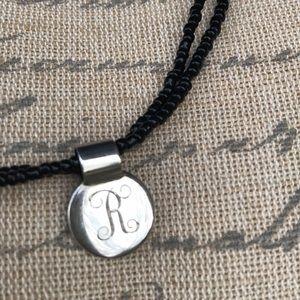 "Jewelry - Double-strand black beaded ""R"" charm choker"